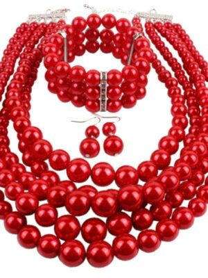 red multi-layer round-pearls necklace
