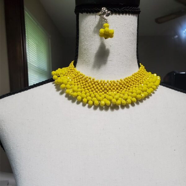 African Bead and Stone Necklace