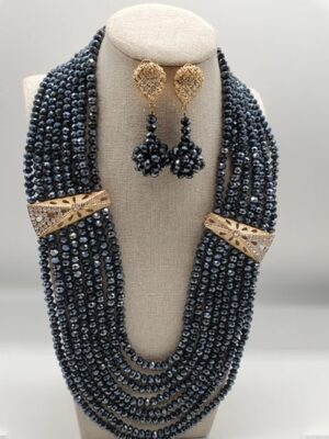 African Black Small Bead Jewelry Set