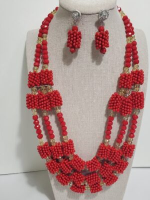 African Red Pearl Jewelry Set