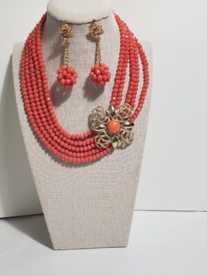 African Small Bead Saffron Jewelry Set