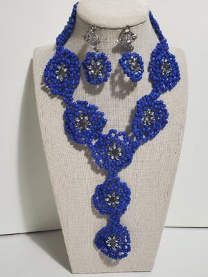 Blue Floral Jewelry Set