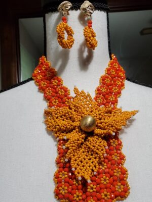 Orange-yellow Necklace with Earrings