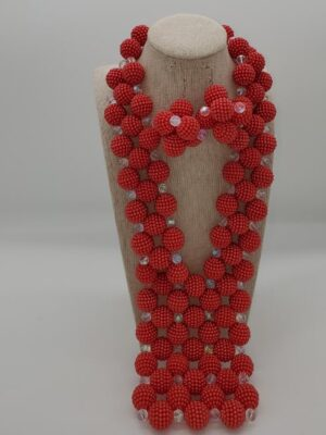 Round Beaded redJewelry Set