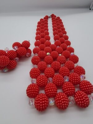 Round Beaded red Jewelry Set