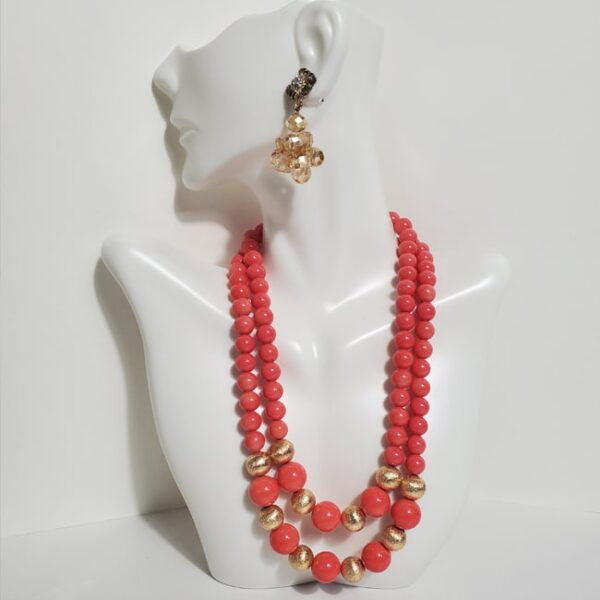 Baby Pink Deep Neck Necklace with Gold Earrings