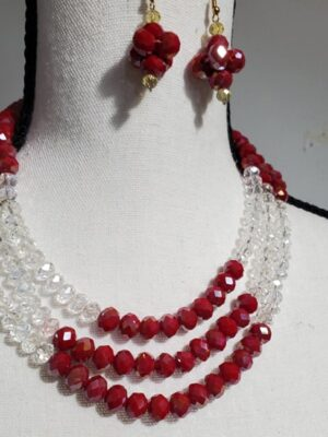 Round Necklace with Red Earrings