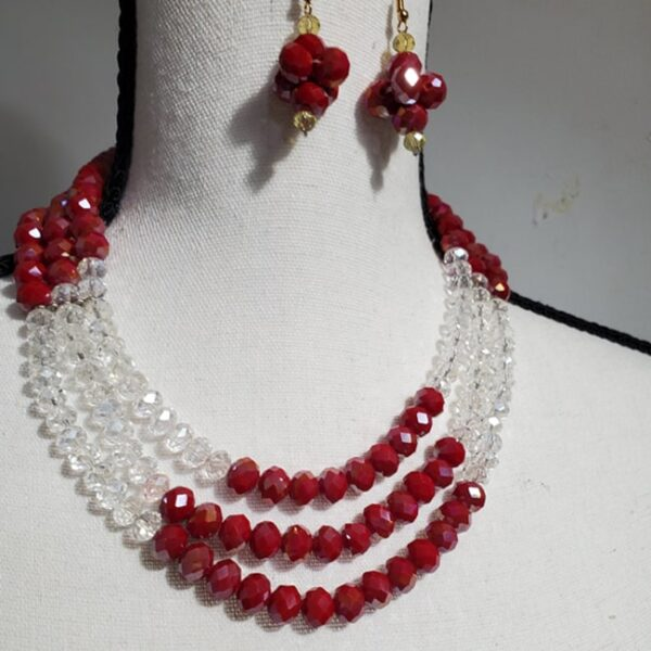 Color Blocked Round Necklace with Red Earrings
