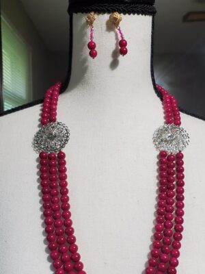 Deep Neck Pink Pearl Necklace