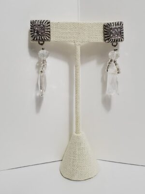 Silver Earrings with Rustic Design
