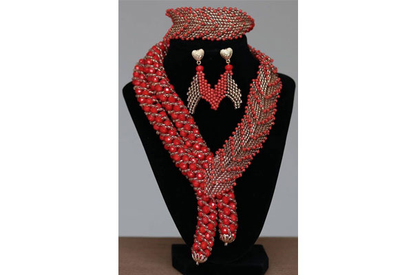 Red Large Bead Jewelry Set