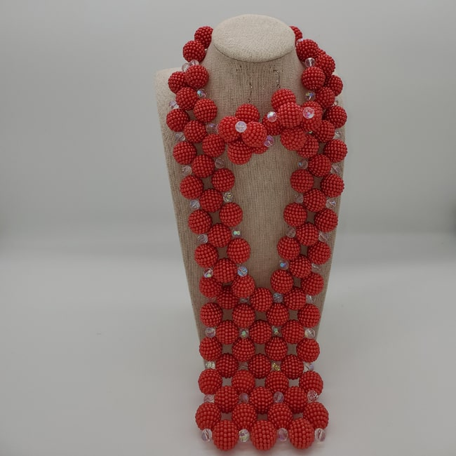 Large Red Bead Necklace with Earrings