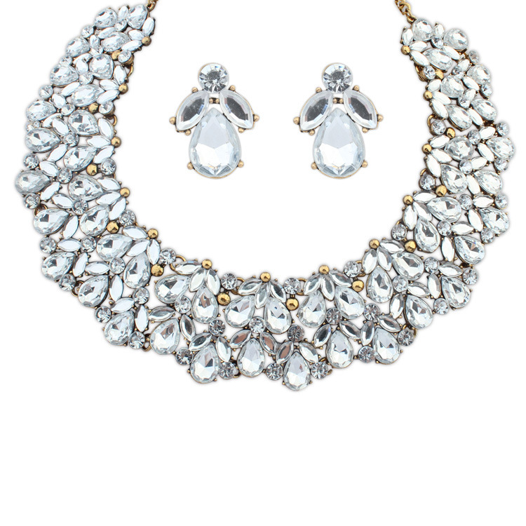 White Crystal Jewelry Set